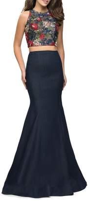 La Femme Two-Piece Denim Mermaid Gown
