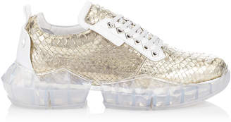 Jimmy Choo DIAMOND/M Sterling Silver Dipped Python Trainers with Chunky Platform