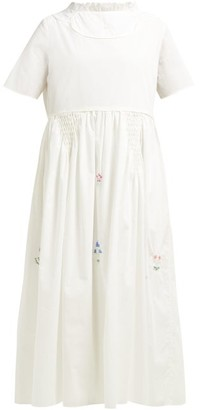 Horror Vacui Fiorina Beaded Flower Cotton Midi Dress - Womens - White