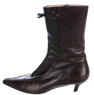 Miu Miu Leather Pointed-Toe Mid-Calf Boots