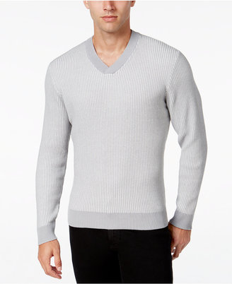 Alfani Men's V-Neck Waffle-Knit Sweater, Regular Fit, Only at Macy's $70 thestylecure.com