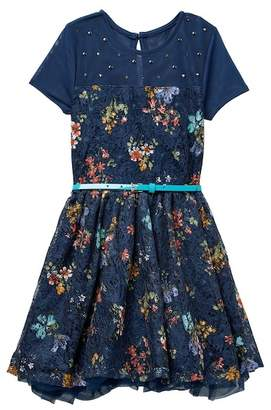 Beautees Studded Illusion Yoke Belted Floral Dress (Big Girls)
