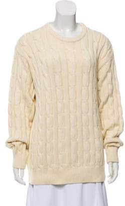 Blumarine Cable Knit Crew Neck Sweater Beige Cable Knit Crew Neck Sweater