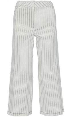 Alexander Wang Frayed Striped Basketweave Cotton Wide-Leg Pants