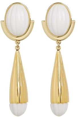 Trina Turk Beveled Cabochon Resin Detail Drop Earrings