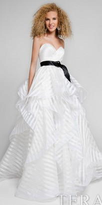 Terani Couture Sheer Stripe Tiered Strapless Ball Gown $352 thestylecure.com