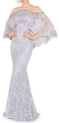 Mac Duggal Off-the-Shoulder Cape Overlay Lace Trumpet Gown