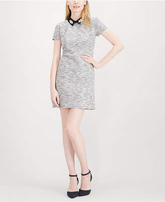 Maison Jules Embellished Collar Metallic Jacquard Dress