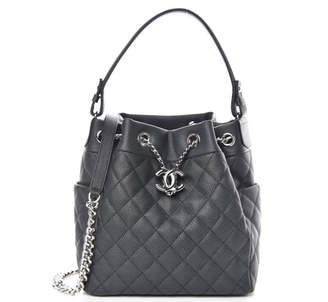 Chanel Chain Bucket Bag Quilted Caviar Silver-tone Grey
