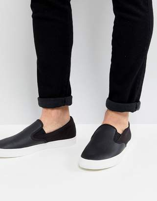 Fred Perry Underspin Slip On Leather Sneakers In Black
