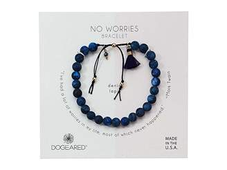 Dogeared No Worries Bracelet, Matte Denim Lapis Bead Stone Bracelet with Nylon Pull Cord
