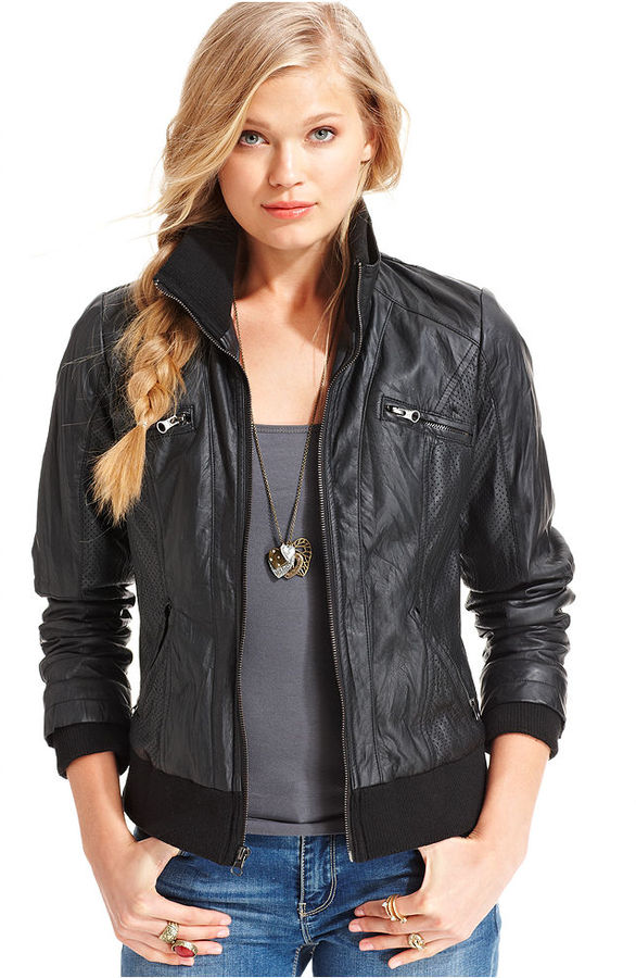 American Rag Jacket, Crinkled Ribbed Faux-Leather Moto