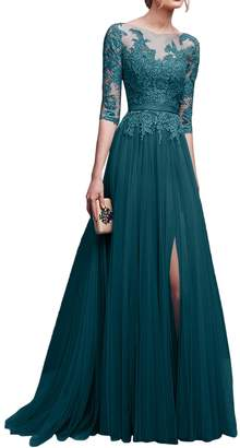 QY Bride Vintage Lace Evening Formal Dresses Floor Length Banquet Prom Gown with Sleeve