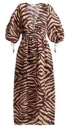 Zimmermann Zebra Print Linen Midi Dress - Womens - Animal