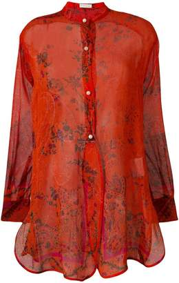 Etro printed sheer collarless shirt