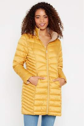 F&F Womens Mustard Epp Long Padded Coat - Yellow
