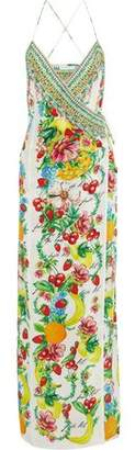 Camilla There's No Place Like Rio Embellished Floral-Print Silk Crepe De Chine Maxi Wrap Dress