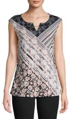 Calvin Klein Sleeveless Printed Crystal Chain Blouse