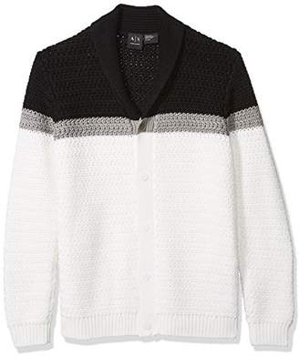 Armani Exchange A|X Men's Color Block Large Knit Cardigan