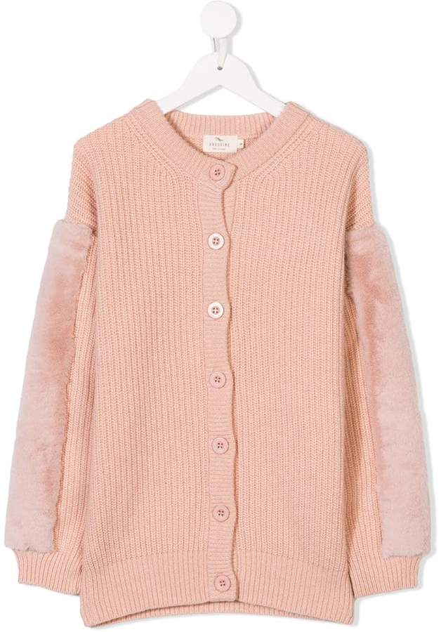 Andorine faux fur trimmed knit cardigan