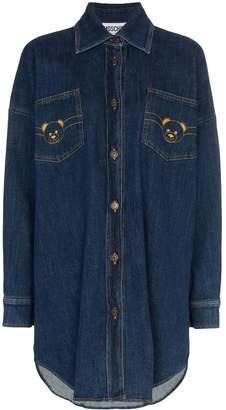 Moschino Teddy logo denim shirt-dress