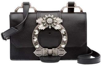 Miu Miu Lady Jeweled Madras Leather Shoulder Bag