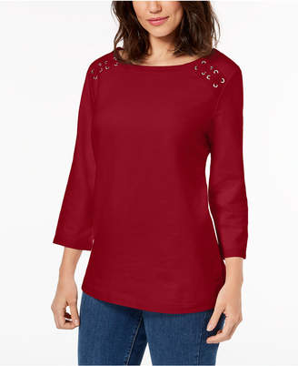 Karen Scott Petite Lace-Up Top, Created for Macy's