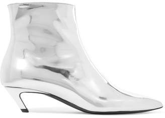 Balenciaga Talon Slash Mirrored-leather Ankle Boots - Silver