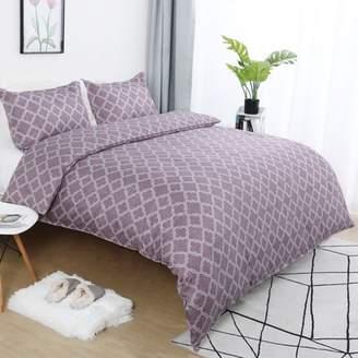 PiccoCasa Lattice Pattern Microfiber Duvet Cover Set with 2 Pillow Shams