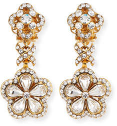 Jose & Maria Barrera Crystal Flower Drop Clip-On Earrings