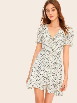 Shein Drawstring Waist Confetti Heart Print Ruffle Wrap Dress
