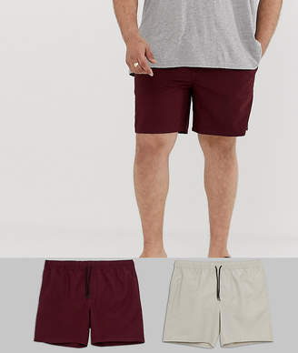 Asos Design DESIGN Plus swim shorts in mid length in burgundy & stone 2 pack multipack saving