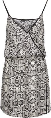 Vix Sphinx wrap-effect snake-print voile mini dress $196 thestylecure.com