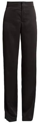 Loewe High Rise Straight Leg Satin Tuxedo Trousers - Womens - Black