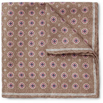 Brunello Cucinelli Printed Silk Pocket Square - Men - Brown