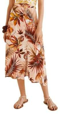 MANGO Tropical-Print Midi Skirt