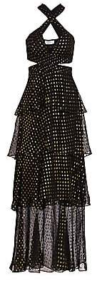 A.L.C. Women's Lita Silk-Blend Metallic Dot Print Tiered Dress