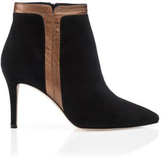 WtR - Easy Black Copper Detail Leather Ankle Boots