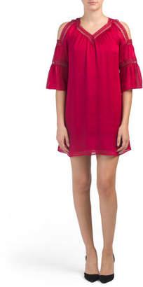 Cold Shoulder Elbow Sleeve Dress