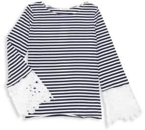 Ella Moss Girl's Lace Cuff Striped Top