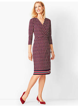 Talbots Crepe Faux-Wrap Sheath Dress - Graphic Squares