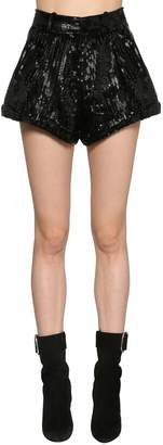 Saint Laurent Sequined Wool Gabardine Shorts