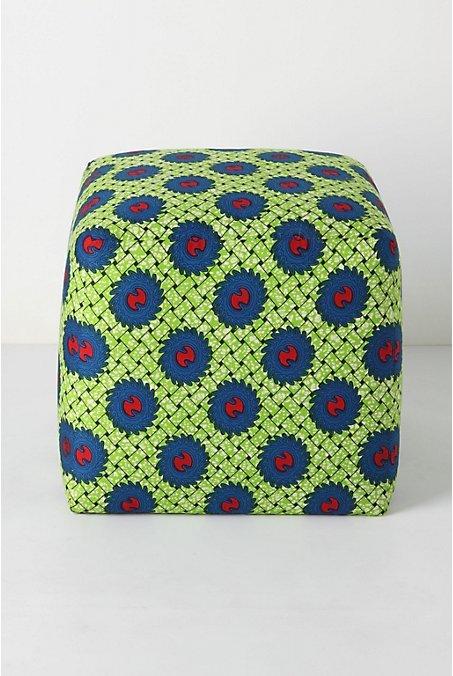 Dutch Wax Ottoman, Green Weave
