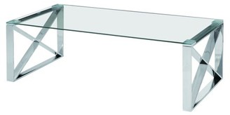 clear Best Quality Furniture Dark Glass Coffee Table with Stainless Steel Legs