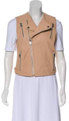 Anine Bing Leather Zip-Up Vest