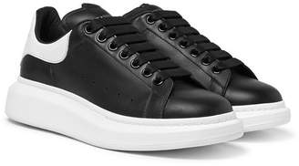 Alexander McQueen Exaggerated-sole Leather Sneakers - Black