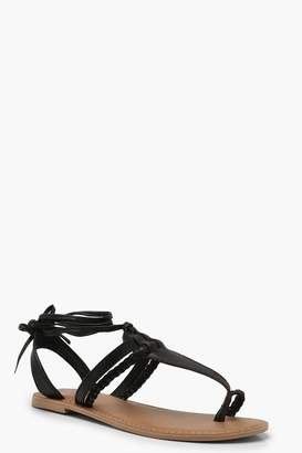 boohoo Leather Toe Post Ghillie Sandals