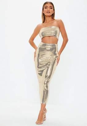 Missguided Gold Sequin Midi Skirt