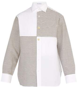 J.W.Anderson Patchwork Breton Stripe Cotton Shirt - Mens - White