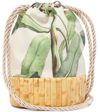 Glorinha Paranagua Saigon Leaf Print Canvas And Bamboo Bucket Bag - Womens - Green Multi